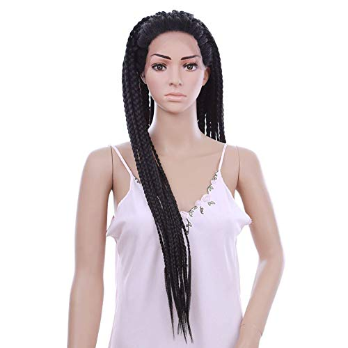 Qnlly 3 Strands Twist Micro Wig - Black (30 inches) Daily Makeup Synthetic Front Lace Wedding Party Wig,Million Twist ()