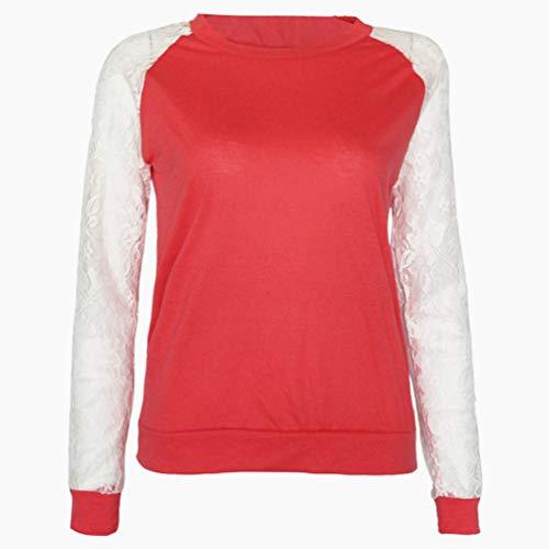 Printemps Shirts Blouse Fr ulein Hauts Rond Fox Col Dentelle Femmes Orange Fashion Pullover et T Tops Shirts pissure Casual Manches Jumpers Sweat Automne Longues q6EBx46w