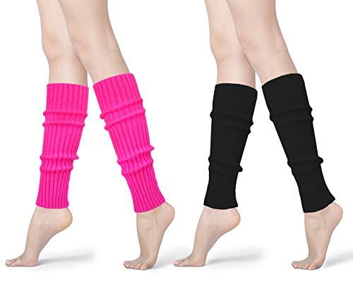 Womens 80s Neon Ribbed Knit Crochet Dance Yoga Leg Warmers Long Socks (Rose+Black(2 pairs)) (Black Knit Leg Warmers)