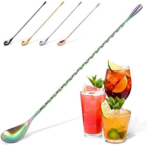 Zulay Premium 12 Inch Stainless Steel Cocktail Spoon - Long Attractive Spiral Design for Layering Drinks - Bar Spoon & Cocktail Mixing Spoon for Cocktail Shakers, Tall Cups & Pitchers (Rainbow)