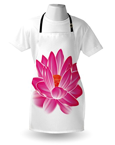 Lunarable Lotus Apron, Vibrant Lotus Flower Pattern Spa Zen Yoga Asian Balance Energy Lifestyle Artsy Image, Unisex Kitchen Bib Apron with Adjustable Neck for Cooking Baking Gardening, Magenta Red by Lunarable (Image #2)