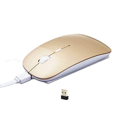 Zgsjbmh Alámbrico Ratón para Juegos Ratón inalámbrico Recargable Mute Silent Click Mini Ratones ópticos sin Ruido