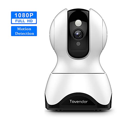 Tovendor Home Security Camera 1080P, PTZ WiFi Video Pet Dog Camera with Two-Way Audio, Sound and Motion Detection, Night Vision Up to 32 Feet