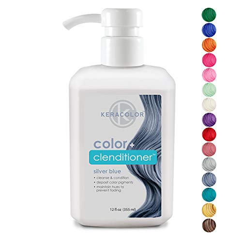 Keracolor Clenditioner Color Depositing Conditioner Colorwash, Silver Blue, 12 fl. oz.