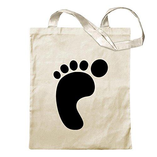 Footprint pictogram Jute Cotton school fitness shopping bag long handle (Barfuß-shop)