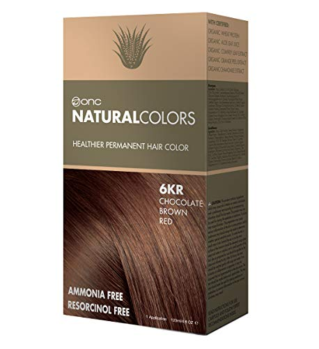 ONC NATURALCOLORS Healthier Permanent Hair Color, Certified Organic Salon Quality Hair Dye, Ammonia-free, Resorcinol-free, Paraben-free, Low pH, Best Hair Coloring (6KR Chocolate Brown) ()
