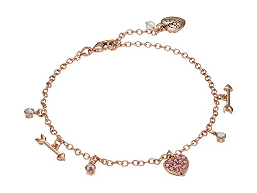 Betsey Johnson Women's Heart and Arrow Anklet, Pink