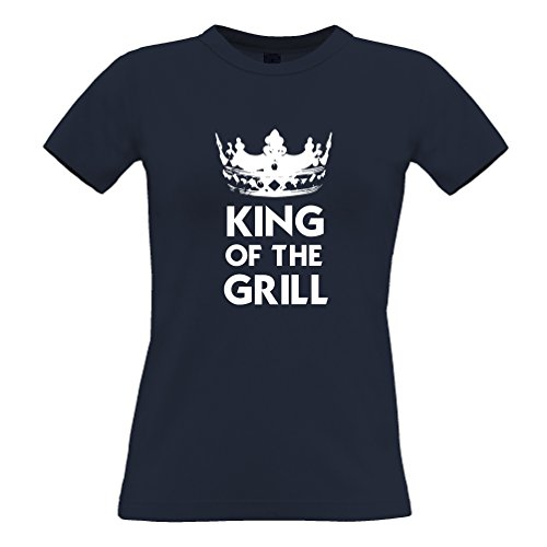Tim and Ted King Of The Grill Logo Slogan disegno stampato dad T-Shirt Da Donna