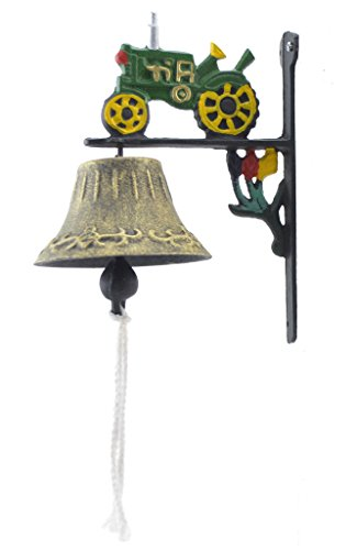 Import Wholesales Cast Iron Dinner Bell Green Farm Tractor Colorful Doorbell