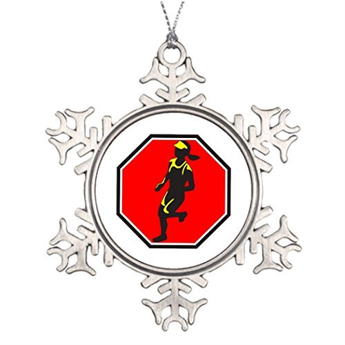 (SS OPER Ideas For Decorating Christmas Trees Female Marathon Runner Octagon Retro Home Snowflake Ornaments)