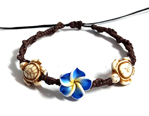 LAVIP Leather Bracelet Hawaiian Plumeria Flower Sea Turtle Bracelet Turtle Hemp Bracelet ()
