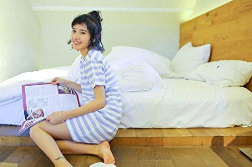 Backbuy Algodón de manga corta para mujer Camisón A rayas Ropa de dormir Cómodo Camisa de dormir Azul