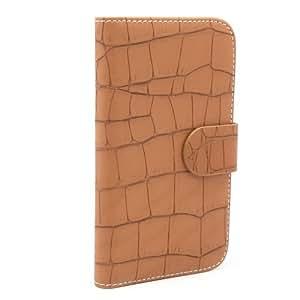 Pdncase Funda Piel Sintéticacon Cartera Diseño de Cocodrilo Compatible con Samsung Galaxy S3 Color Marrón
