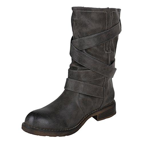 Stiefelparadies Leicht Gefütterte Stiefel Damen Bikerstiefel Fransen Schnallen Schuhe Biker Boots Wildleder-Optik Holzoptikabsatz Flandell Khaki Schnallen