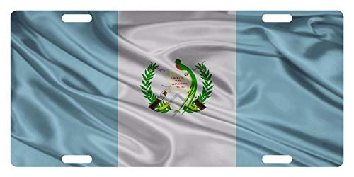 Guatemala Flag Guatemalan Central American Wave Auto Truck Car Front Tag Custom Aluminum Metal License Plate Frame Cover 12 x 6 Inch