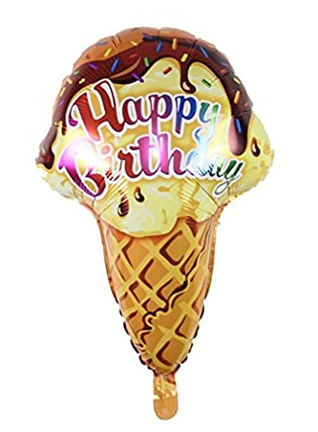 Ice cream Candle air balls helium Foil Balloons Happy Birthday Party (Brown)