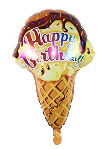 [Ice cream Candle air balls helium Foil Balloons Happy Birthday Party (Brown)] (Hot Dog On A Stick Costumes)