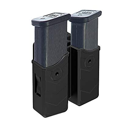 Double Magazine Holster 9mm .40 Mag Holder Universal Dual Stack Mag Pouch with Belt Clip(1.5-2.0 inch) Fits Glock H&K Smith & Wesson Ruger Sig Sauer Browning Taurus Beretta Walther CZ and More