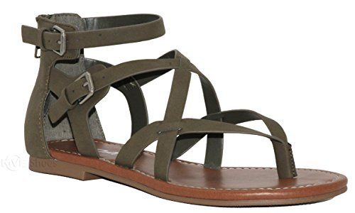 MVE Shoes Women's Gladiator Flat Sandals - Slim Strappy Ankle Buckle -Summe Tie Up Flats Sandals, Olive nb Size 7