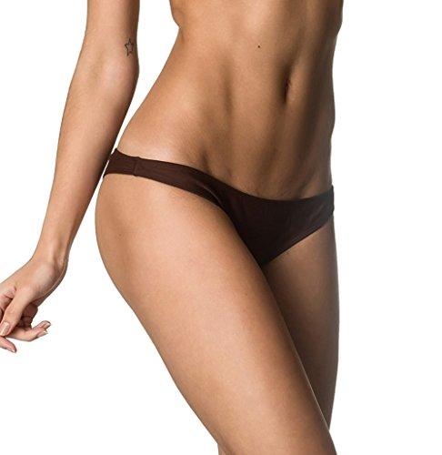 - THE MESH KING Coqueta Swimwear Sexy Sweet Heart Brazilian Bikini Bottom Hipster Swimsuit Brown-SM