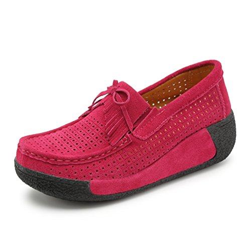 JRenok Femme Mocassins Compensé à Haute 7 CM Loisir Confort Chaussures à Plateforme Respirantes Avec Pampilles 35-40 rose rouge 8qgUt
