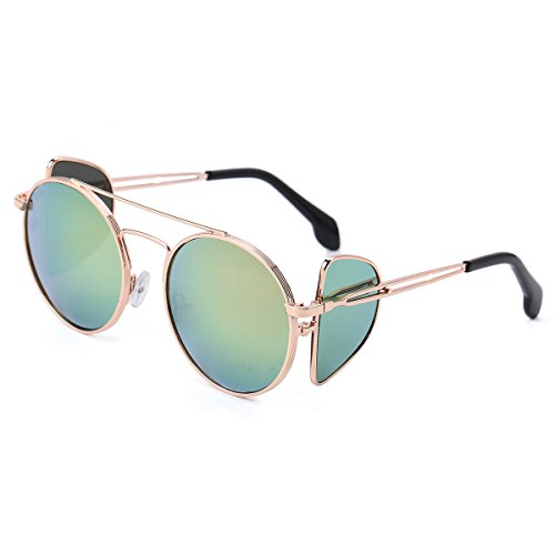 Round Sunglasses for Men and Women Stylish Side Mirror Lens Polarized UV Protection