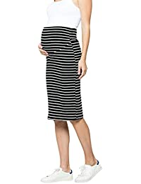 c9ff8001b2040 Women's Comfort Stretch High Waisted Tummy Control Cotton Blend Midi Maternity  Pencil Skirt Made in USA