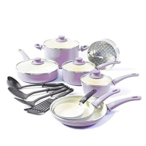 GreenLife CC001792-001 Soft Grip 16 Piece Ceramic Non-Stick Cookware Set, Lavender