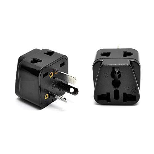 OREI 2 in 1 USA to Australia/China Adapter Plug - 2 Pack, Black]()