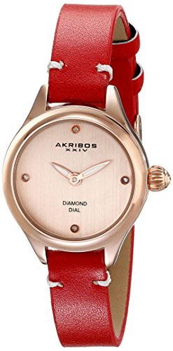 Akribos XXIV Women's AK750RD Quartz Movement Watch with Rose Gold Dial and Red Calfskin Leather Strap