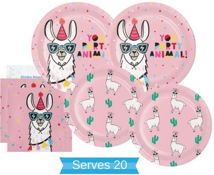 Llama Party Supplies - Llama Party Plates and Napkins for 20 People - Perfect Llama Party Decorations for Birthday Party, Baby Shower, Bachelorette Party and all Lavish Affairs!]()