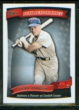 Richie Ashburn 2010 Topps Baseball Peak Performance Insert Card #PP 90 Philadelphia Phillies / Hall of Fame