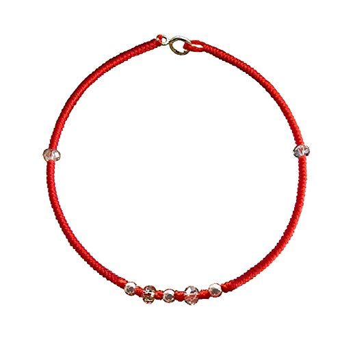 Wholesale Couple red String Foot Chain Anklet Ankle Bracelet Jewelry Women Girls Black one Pair 925 Sterling Silver Ornaments Rope Transfer Beads Valentine Gift (anklets Female Models (Sterling Silver Chain By The Foot Wholesale)