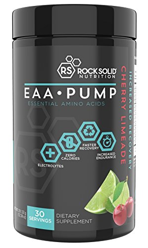 Rock Solid Nutrition EAA Pump Essential Amino Acid Workout Recovery Drink Powder, 30 Servings Cherry Limeade