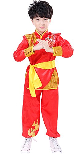 CRB Fashion Little Boys Kung Fu Chinese Arts Asian Fighter Top Shirt Pants Outfit Set Costume (Red, Child's Height 130cm)