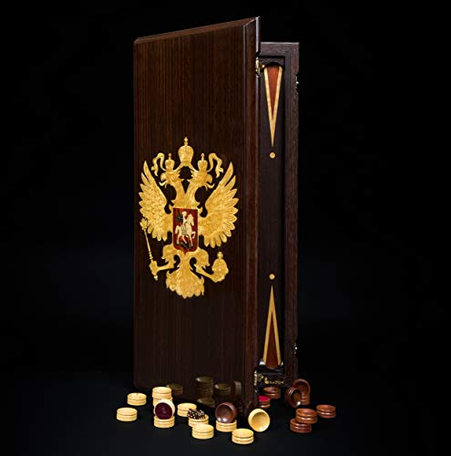 Handmade Backgammon Set Gift Coat of Arms Russia Wenge Board Game - Elite Wood