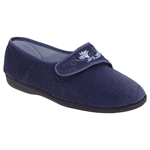 Dwarsliggers Dames / Dames Jolene Touch-sluiting Geborduurde Pantoffels Marineblauw