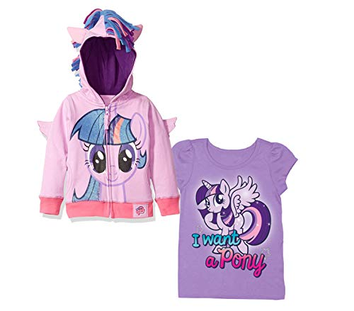 My Little Pony Hoodie T-Shirt - 2 Pack of Hasbro MLP Girls Hoodie and T-Shirt - Rainbow Dash, Twilight Sparkle, Pinky Pie (Purple/Purple, 2T)