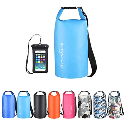 OMGear Waterproof Dry Bag Backpack Waterproof Phone Pouch 40L/30L/20L/10L/5L Floating Dry Sack for Kayaking Boating Sailing Canoeing Rafting Hiking Camping Outdoors Activities (Light blue2, 40L)