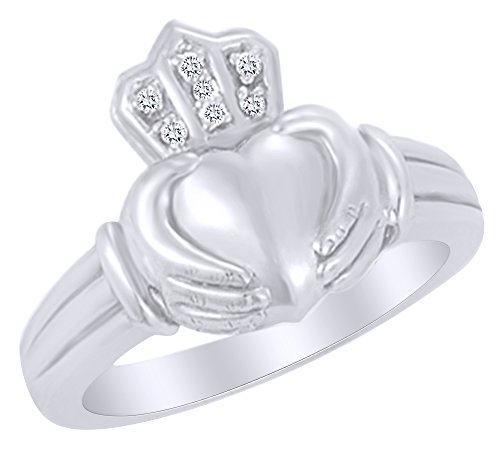 White Natural Diamond Claddagh Ring in 14k White Gold (0.03 Cttw) Ring Size - 7