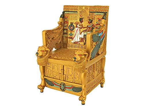 (Dеsign Tоscаnо Home Decor Egyptian Décor Trinket Box - King Tut's Golden Throne Jewelry Box - Egyptian Statues)