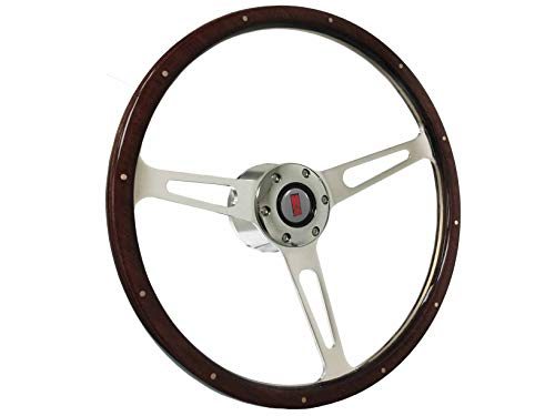 Wood Steering Wheel Kit - 1969-1989 Oldsmobile S6 Classic Riveted Espresso Stained Wood Steering Wheel Chrome Kit