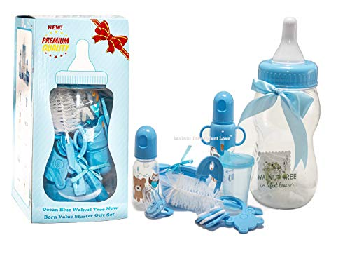 (New Ocean Blue Walnut Tree New Born Growing Up with Me Starter Gift Set BPA Free | Includes a Meal Set, Teething Toys, Bottles, Cleaning Brush, and Milk Bottle Piggy Bank (Ocean Blue))
