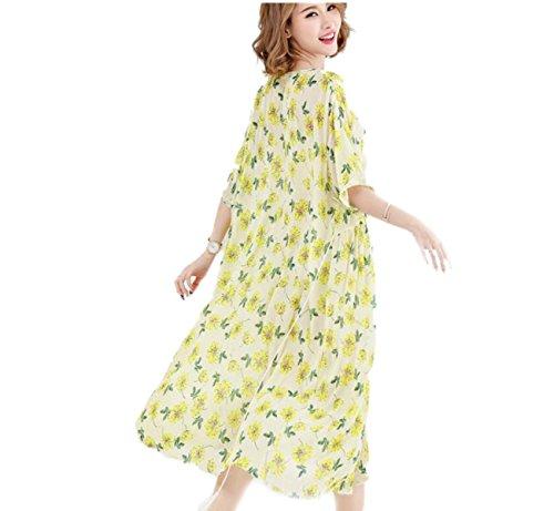 Vestido De La Manera De Gran Tamaño Sueltos HGDRSpring Y Verano De Las Mujeres Yellow