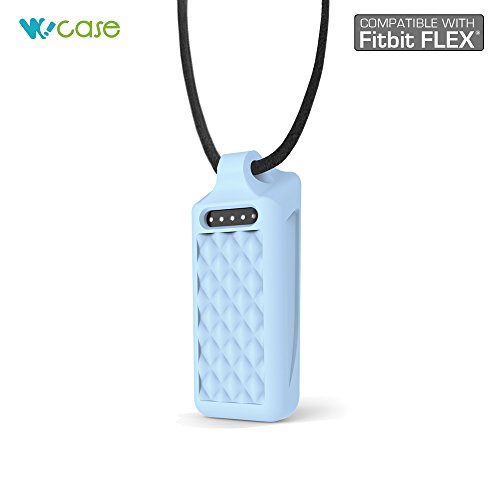 WoCase Pendant Necklace (Light Icy Blue, Diamond) for Fitbit Flex Activity and Sleep Tracker Wristband Band Bracelet ( (Best Gift for Fitbit Flex User) ()