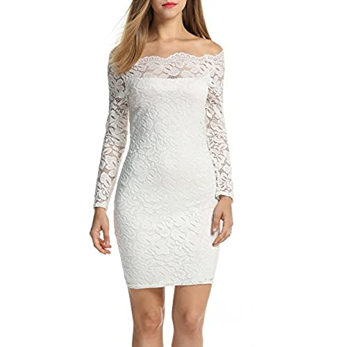 ACEVOG Womens Off Shoulder Lace Dress Long Sleeve Bodycon Casual Dresses (Medium, White)