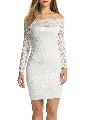 ACEVOG Women's Boat Neck Floral Lace Dress Long Sleeve Bodycon Cocktail Party Pencil Dresses White S