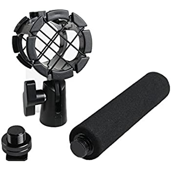 Eggsnow Microphone Shock Mount Clip Universal Mic Holder Stand + Hot Shoe Adapter +Foam Handle Grip Anti Vibration for AKG D230/ Senheisser ME66 /Rode NTG-2 /NTG-1/ Audio-Technica AT-875R