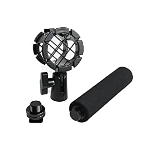 Eggsnow Microphone Shockmount Universal Holder Clip + Hot Shoe Adapter + Foam Handle Grip Anti Vibration for AKG D230, Senheisser ME66, Rode NTG-2,NTG-1,Audio-Technica AT-875R