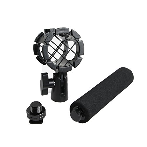 Eggsnow Microphone Shockmount Universal Holder Clip + Hot Shoe Adapter + Foam Handle Grip Anti Vibration for AKG D230, Senheisser ME66, Rode NTG-2,NTG-1,Audio-Technica AT-875R - Hot Shoe Boom Mic